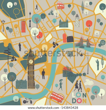 Map Londons Sights Stock Vector 143843428 Shutterstock