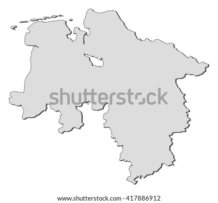 Map of Lower Saxony (Germany) - stock vector