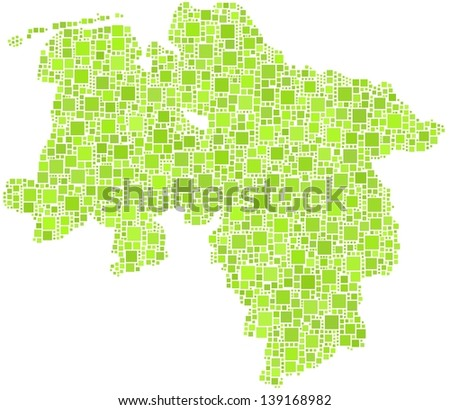 Map of Lower Saxony - Germany - in a mosaic of green squares