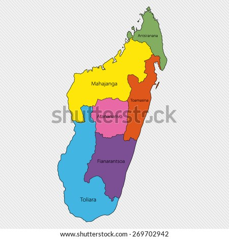 Map of Madagascar. Administrative division - stock vector
