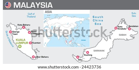 Map of Malaysia - stock vector