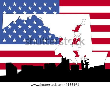 Massachusetts Map On Vintage American Flag Stock Vector - Us flag on the map
