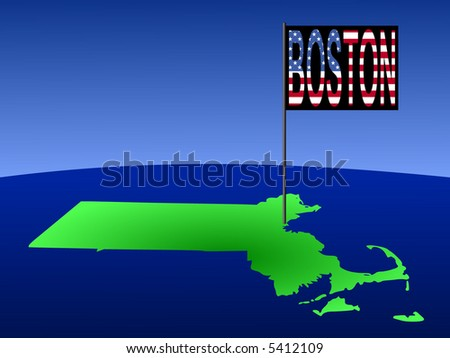 Map of Massachusetts with position of Boston marked by flag pole illustration - stock vector