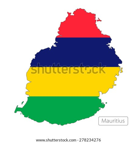 Map of Mauritius with an official flag. Illustration on white background - stock vector