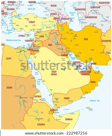 Map of Middle East - stock vector