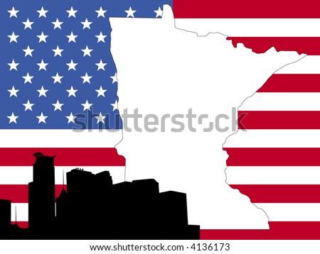 Map Minnesota On American Flag Minneapolis Stock Vector - Minneapolis minnesota on us map