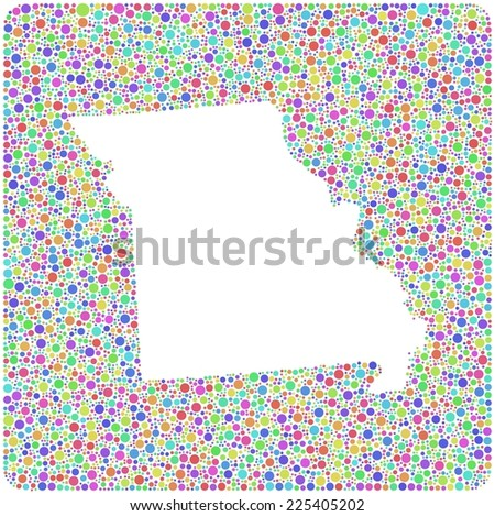 Map of Missouri - USA - in a mosaic of harlequin bubbles - stock vector