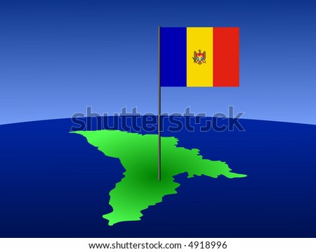 map of Moldova and Moldovan flag on pole illustration