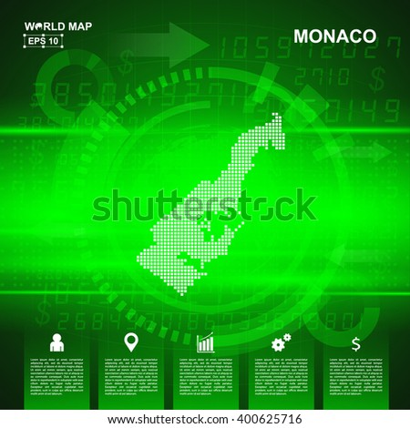 Map Of Monaco, Abstract Green background, pixel vector illustration