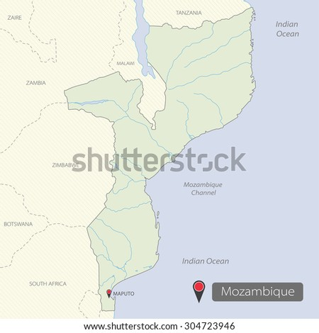 Map of Mozambique, Africa