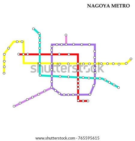 Map Nagoya Metro Subway Template City Stock Vector 765595615