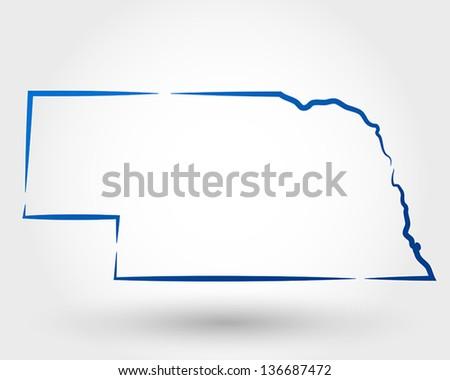 map of nebraska. map concept - stock vector
