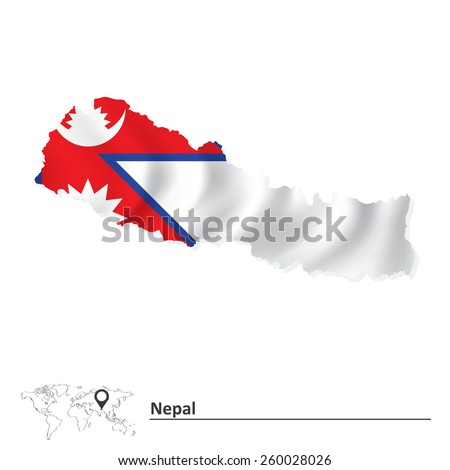 Map of Nepal with flag - vector illustration - stock vector