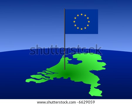 map of netherlands and European Union flag on pole illustration