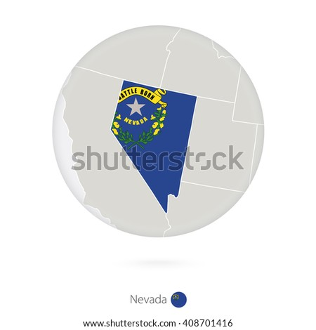 Map Of Nevada State And Flag In A Circle Nevada Us State Map Contour With