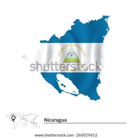 Map of Nicaragua with flag - vector illustration - stock vector