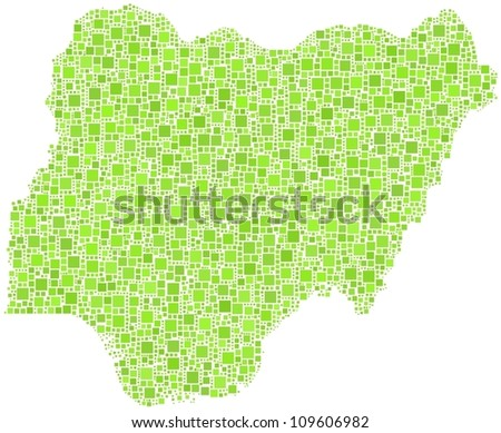 Map of Nigeria - Africa - in a mosaic of green squares. A number of 3964 little squares are accurately inserted into the mosaic. White background.