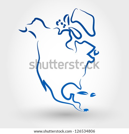 map of north america. map concept - stock vector