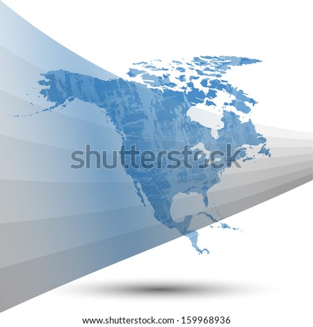 map of north america on a gray background vector - stock vector