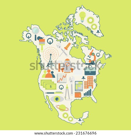 Map of North America with technology icons. Contour map of North America with icons of technology, business, science, communication - stock vector