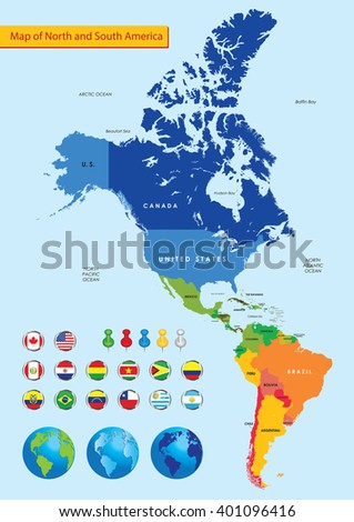 Map of North and South America - stock vector