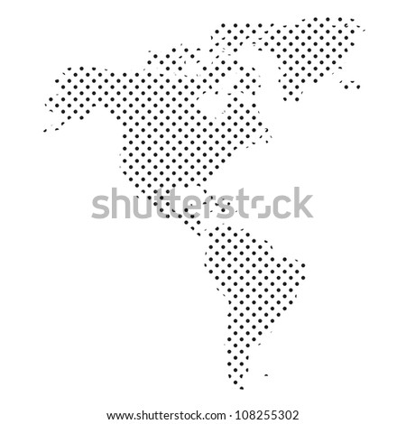 Map of North and South America from Dots - stock vector