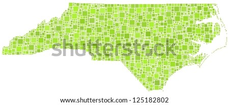 Map of North Carolina - Usa - in a mosaic of green squares. White background. - stock vector