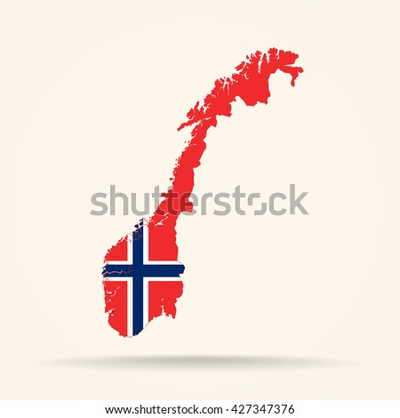 Map of Norway in Norway flag colors - stock vector