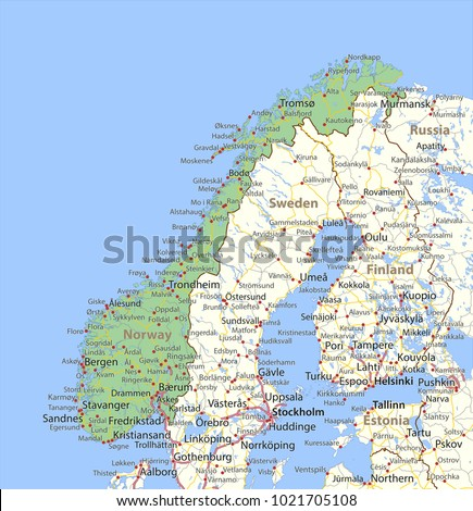 Map Norway Shows Country Borders Urban Stock Photo Photo Vector