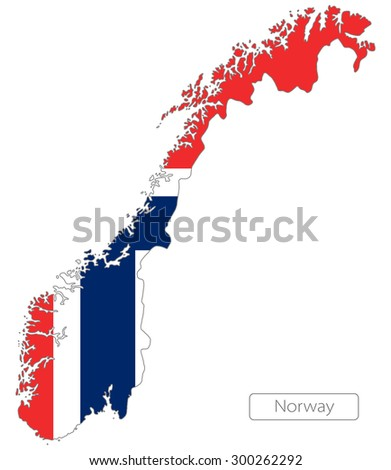 Map of Norway with an official flag. Illustration on white background