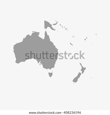 Map  of Oceania in gray on a white background - stock vector