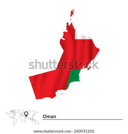 Map of Oman with flag - vector illustration