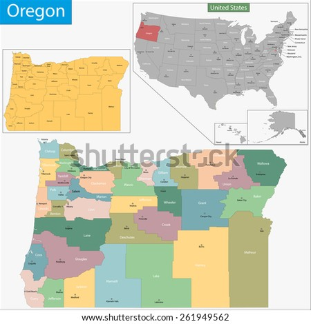 Map of Oregon state designed in illustration with the counties and the county seats - stock vector