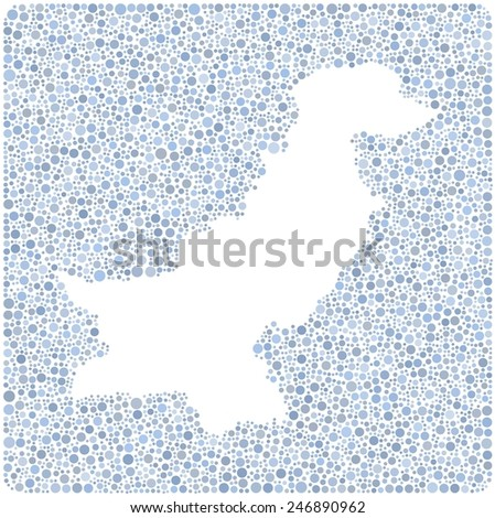 Map of Pakistan - Middle East - in a mosaic of colored circles - stock vector