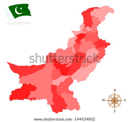 Map of Pakistan, provinces and regions - stock vector