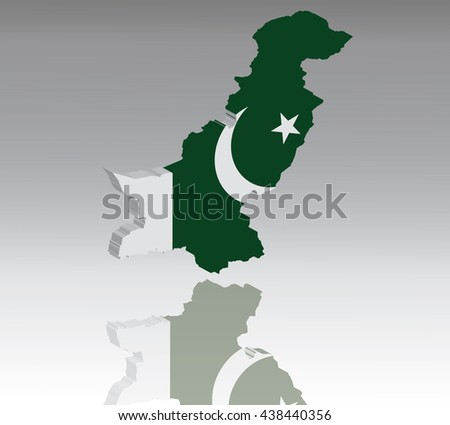 Map of Pakistan with flag 3D, silhouette, reflection, EPS10 vector - stock vector