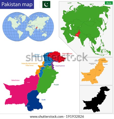 Map of Pakistan with the states colored in bright colors - stock vector