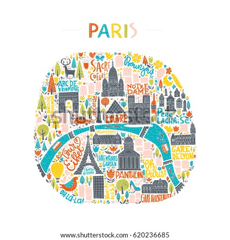 map of paris drawn by hand illustration for travel guide poster or apparel design
