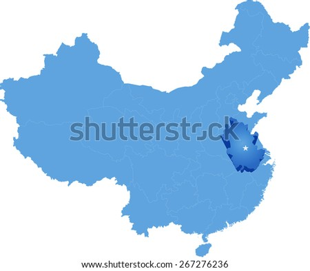 Map of People's Republic of China where Anhui province is pulled out - stock vector