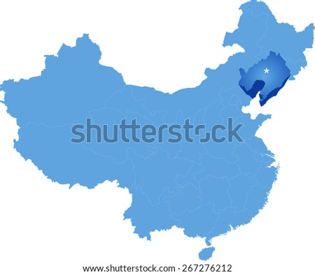 Map of People's Republic of China where Liaoning province is pulled out - stock vector