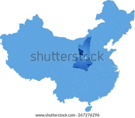Map of People's Republic of China where Shaanxi province is pulled out - stock vector