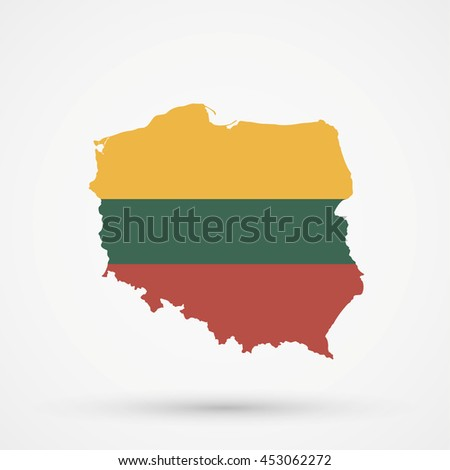 Map of Poland in Lithuania flag colors - stock vector