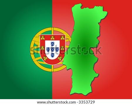 Portugal Map Flag On Blue Sunburst Stock Vector - Portugal map flag