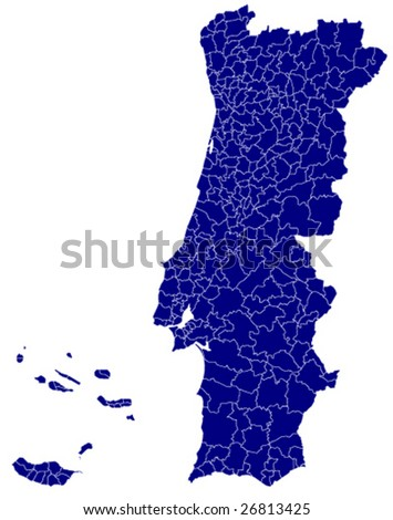 map of portugal - detailed vector - stock vector