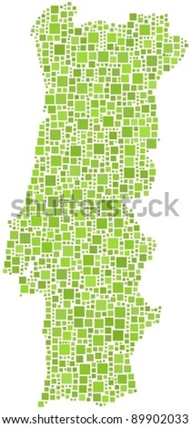 Map of Portugal (Europe). A number of 1237 squares are inserted into the mosaic - stock vector