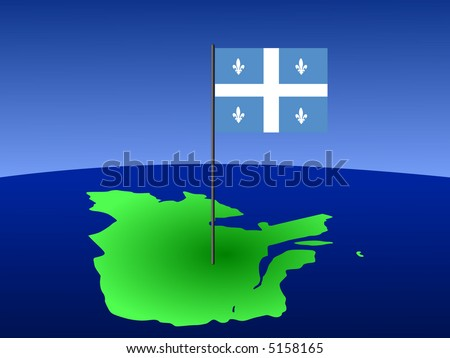 map of province of Quebec with their flag