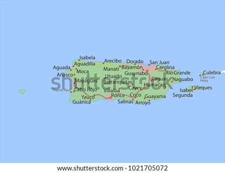 Map Puerto Rico Shows Country Borders Stock Vector HD Royalty Free