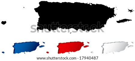 Map of Puerto Rico with three-dimensional variations - stock vector
