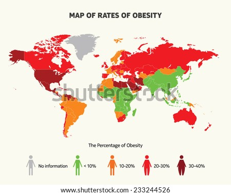 Map of rates of obesity - stock vector