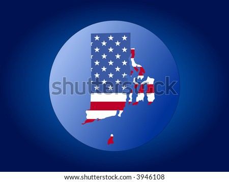 map of Rhode Island and American flag globe illustration